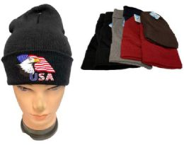 36 of Assorted color Winter Beanie Eagle USA Flag