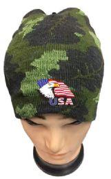 36 of Camo Color Winter Beanie Eagle USA Flag