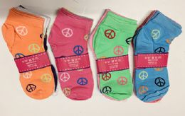 144 of Women Short Socks Peace Print In Assorted Colors Size 9-11