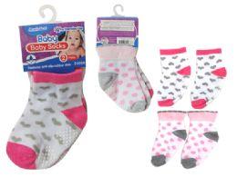 144 of Baby Socks W/ Rubber Dots