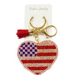 72 of Rhinestone Keychain USA Heart