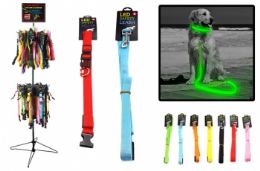 96 of LED Lighting Dog Leashes And Collar Assorted Sizes Free Rack