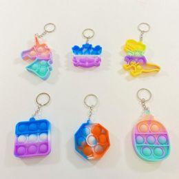 50 of Push Pop Fidget Toy Keychain [Tie Dye Assort]