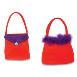"""72 of 6"""" Valentine's Day Purses w/ Embroidered Gem & Faux Fur"""