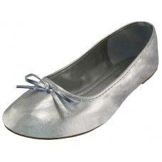 18 of Women's Ballet Flats Metallic Silver