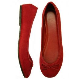 18 of Ladies' Velvet Ballerina *maroon Size 5-10