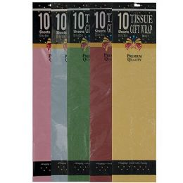 72 of 10 Piece Gift Tissue Assorted Colors