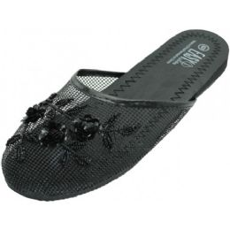 48 of Ladies' Mesh Slippers With Sequins Black