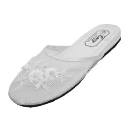 48 of Women's Mesh Slippers With Sequins( White Color Only)