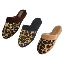 48 of Ladies' Velour Leopard Print Slippers