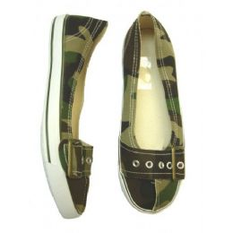 24 of Ladies' Camouflage Canvas Shoe W/ Buckle