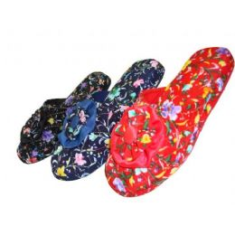48 of Girls' Satin Floral Slippers