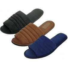 72 of Men's Open Toe Cotton Terry Upper House Slippers