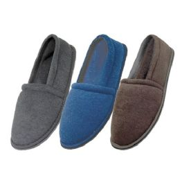 48 of Men's Cotton Terry Upper Close Toe And Close Back House Shoes