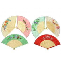 120 of 10 Assorted Floral Print Silk Fans Pairs Per Ctn: