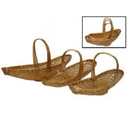 24 of Long Oval Bamboo Basket Set Of 3