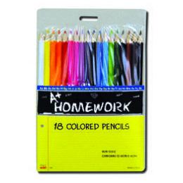 96 of Colored Pencils - 18 Pk - Hang Card - Asst. Cls.