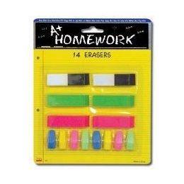 48 of Erasers - 14 Pk - 6 Beveled + 8 CaP-Asst.cls.