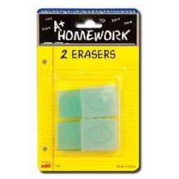 48 of Erasers - 2 Pk -1.75 Ea.- With Plastic Holders