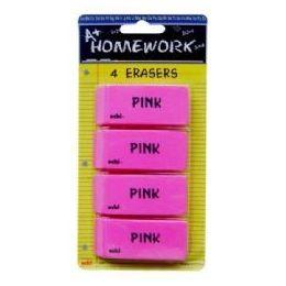 48 of Erasers - Pink - Beveled - 2.5 - 4 Pack