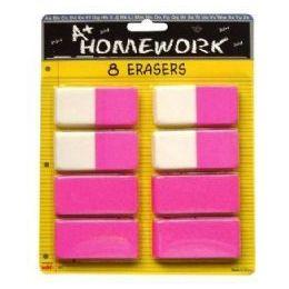 48 of Erasers - Pink - Beveled - 2.5 - 8 Pack