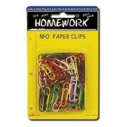 48 of Paper Clips - 160ct.-1.25 - Vinyl Asst.cls. - Carded