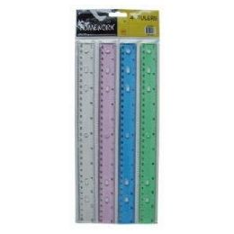 192 of Plastic Ruler 12 Inch Assorted Colors Carded