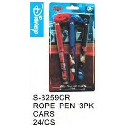 96 of Cars Pens On A Rope 3 Pack