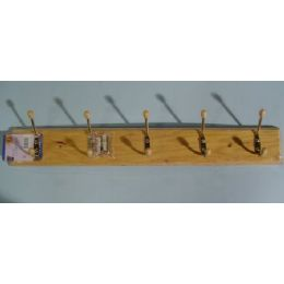72 of Wooden Rack With 5 Hooks