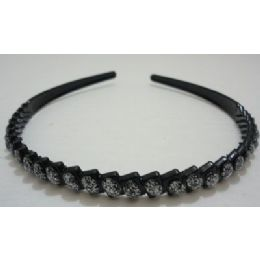 36 of Black Plastic Headband With Silver Sparkle