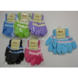 180 of Girls 3 Color Chenille Gloves