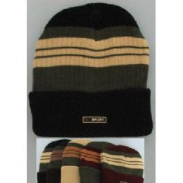 72 of Heavy Duty Knit Cap With Multicolor StripeS-Solid Fold
