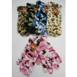 24 of Ladies Camo & Animal Print Fleece Gloves