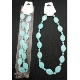 72 of NecklacE-Turquoise Flat Oval Beads