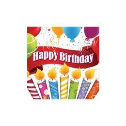 144 of Happy Birthday Candles With Balloons Luncheon Napkins - 16ct.