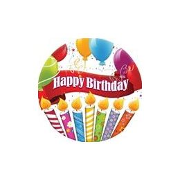 """144 of Happy Birthday Candles With Balloons 9"""" Plate - 8ct."""