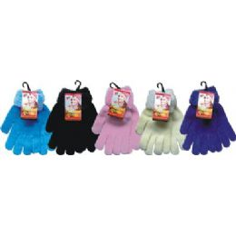 48 of Ladies Chenille Glove Asst Colors With Fur Cuff