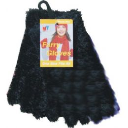 36 of Furry Gloves Asst Colors Black Only