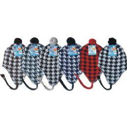 96 of Hounds Tooth Print Fleece Winter Hat