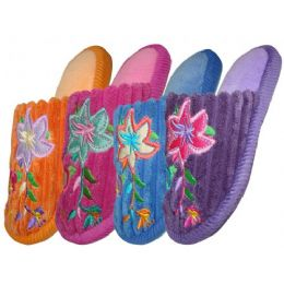 48 of Girls Plush Slipper With Flower Embroidery