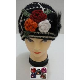 72 of Hand Knitted Fashion CaP--3 Flowers & Fur