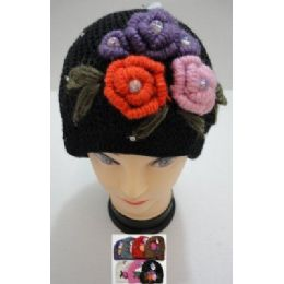 72 of Hand Knitted Fashion CaP--5 Flowers And Rhinestones