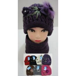 48 of Hand Knitted Fashion Hat & Scarf SeT--1 Flower & Fur