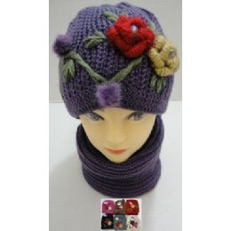 72 of Hand Knitted Fashion Hat & Scarf SeT--2 Flowers