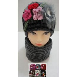 72 of Hand Knitted Fashion Hat & Scarf SeT--3 Flowers & Fur