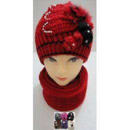 48 of Hand Knitted Fashion Hat & Scarf SeT--RhinestoneS-BeadS-Fur