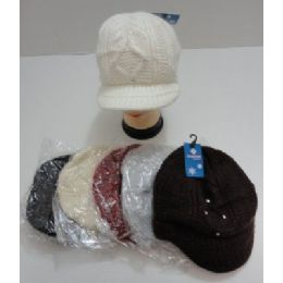 24 of Ladies Hand Knitted Cap With Rhinestones