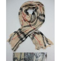 72 of Crinkle Scarf With FringE--Plaid