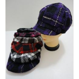 60 of Ladies Knit NewsboY-Heavy Knit Plaid With Sparkles