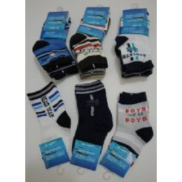 300 of Boys Printed Crew Socks 2yR-4yr